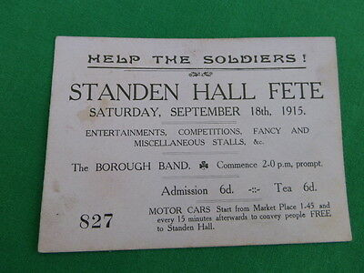 Help The Soldiers Fate Ticket Admission Card - 1915