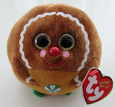 "Ty Beanie Ballz Rare ""ginger"" The Gingerbread Man Brand New With Mint Tags"