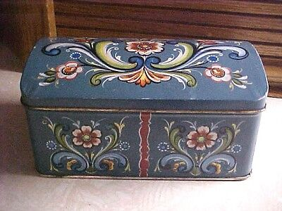 Lovely Vintage Norwegian Tin Box with Rosemal Design Made In Norway Hinged Cover