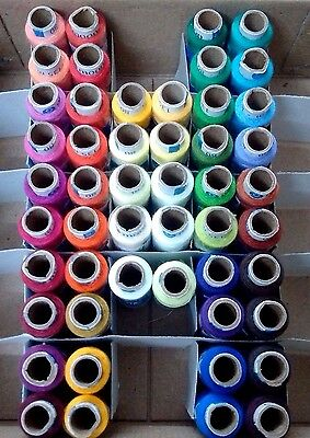 Assorted SET LOT of 50 Tubes Spools Polyester 2 ply Sewing Machine Thread Yarn