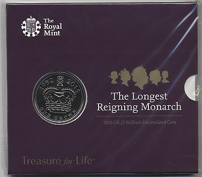 2015 The Longest Reigning Monarch £5 Five Pounds Coin***Sealed Pack***