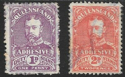 QUEENSLAND   DUTY STAMPS  1d & 2d     not perfect