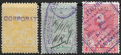 QUEENSLAND    DUTY STAMPS   2/-, 3/- & 5/-  ( 5/- has a tear)