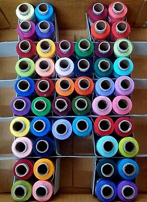 100% Polyester LOT 50 Tubes Spools 2 ply Sewing Machine Thread - 300 meters each