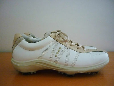 Women's Ecco Comfort White & Beige Leather Golf Shoes - Size 38 - 38493