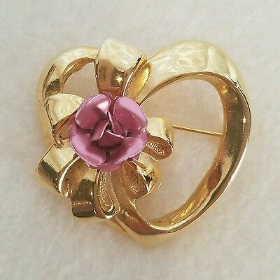 Beautiful Gold Tone Heart Brooch with Pink Bow