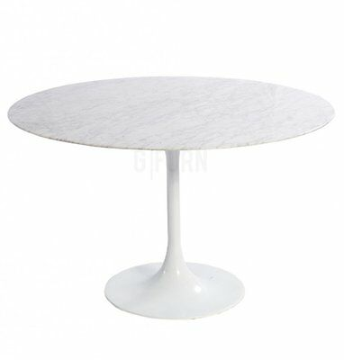 Saarinen Style Tulip Round Dining Table 80cm White Marble Aluminium Base