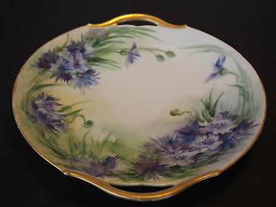 Large Antique Limoges Hand Painted 2 Handles Blue Gold Floral Charger Plate Tray