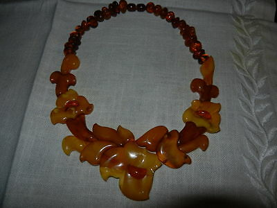 Antique Natural  butterscotch egg yolk Baltic Amber  Necklace   44gr