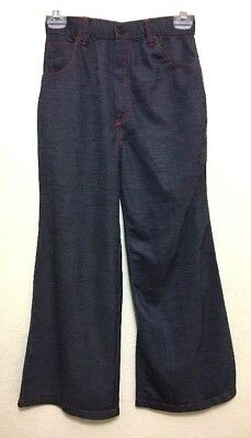 Vintage 1970s Girls Bell Bottom Blue Jeans Size 12 Little Miss Holly Pants