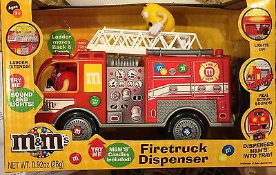 M&M Fire Truck Candy Dispenser with Lights & Sounds 2016 Pull Ladder to Dispense