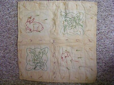 1920's 1930's Antique Doll Quilt Embroidered Dog & Bunny & Roses Hand Stitched