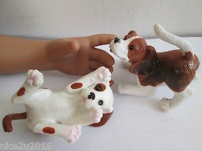 Lot 2 pcs Beagle Puppy Figure Toy 1/6 Dollhouse Pet Dogs for American Doll 18 in