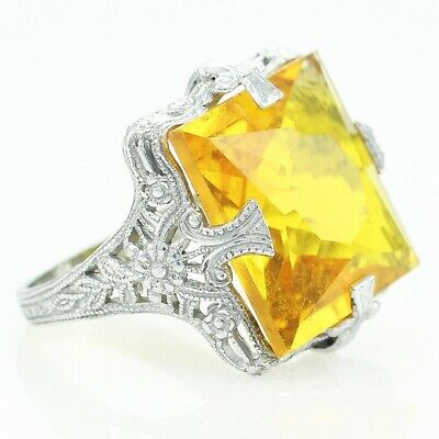 VINTAGE Art Deco Filigree Sterling Silver Square Yellow Lab-Create Spinel Ring 5