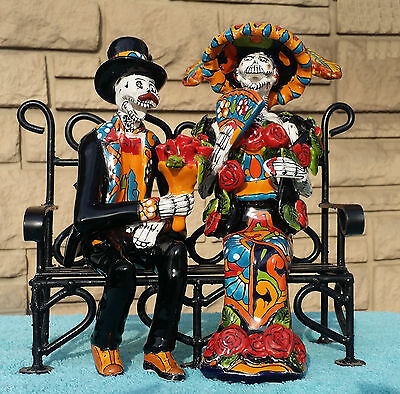 Banco de Novios Statue Catrina Couple on a Bench 9x6x10 Mexican Talavera Painted
