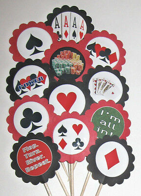 Poker  Cards Cupcake Toppers/Party Picks  Item #589 Casino