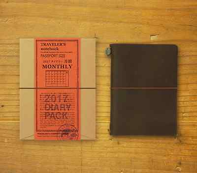 MIDORI TRAVELER'S notebook 2017 Diary Monthly  Passport size BROWN  Japan