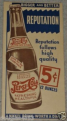 Vintage Pepsi Cola 5 Cent Bigger & Better Reputation Ad Poster  Double Dot