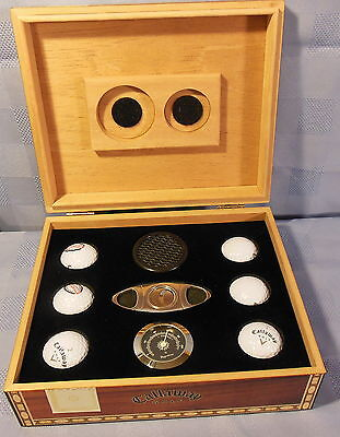 Callaway 6 BALL CIGAR HUMIDOR WITH Hulcher LOGO ON THE LID *UNUSED*