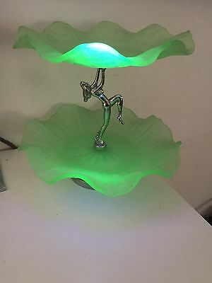 Uranium Glass Two Tiered Art Deco Diana Lady Cake Plate Excellent Condition