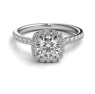 Stamped S925 Sterling Silver Plated 2 CT Created Moissanite Halo Accent Ring