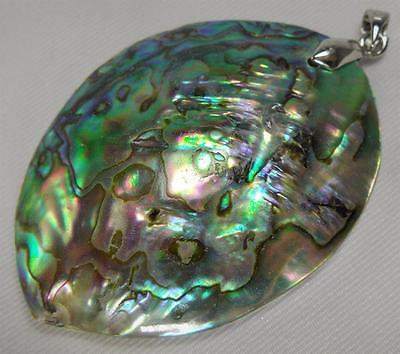Natural Rainbow Shiny Abalone Shell Sea Mineral Gemstone Sterling Silver Pendant