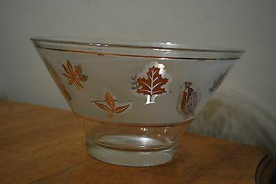 Signed Libbey(?) Libbey Frosted with Gold Leaf (ves) Punch Bowl - Some flaws