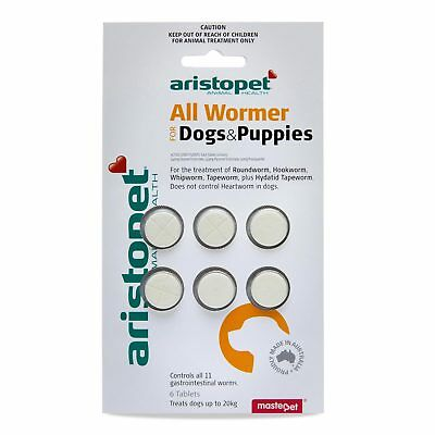 Aristopet All Wormer Dog Puppies 6 Pack For Dogs Upto 20kg Worming