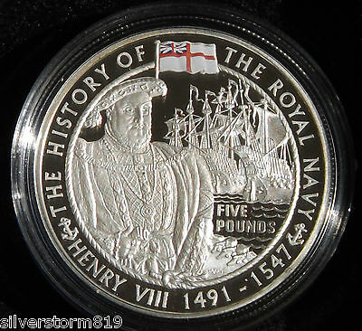 GUERNSEY  2004 Henry VII Royal Navy Five Pounds Silver Proof Crown Coin