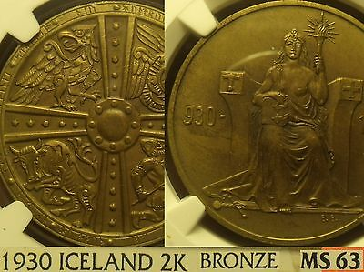 Iceland 1930 2 Kronur Althing Millennium Bronze~NGC MS-63~RARE~Free Shipping