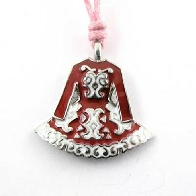 Irish Pewter and Enamel Red Dancing Dress Pendant with Pink Adjustable Cord