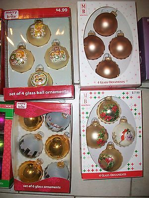 Lot of 4 Boxes of Merry Brite Santa - Angels - Wreaths  Ornaments NEW