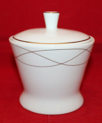 Wedgwood Everyday Platinum Twist Sugar Bowl with Lid White Silver England