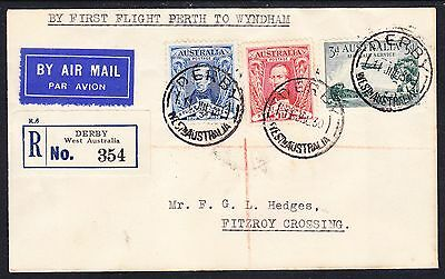1930 July first Flight Perth to Wyndham - Scarce intermediate registered Derby