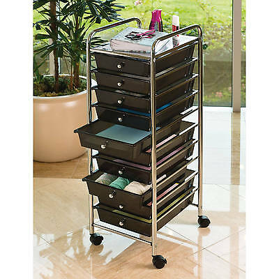 10-Drawer Rolling Storage Cart Craft Supply Organizer Home Office Black/Chrome