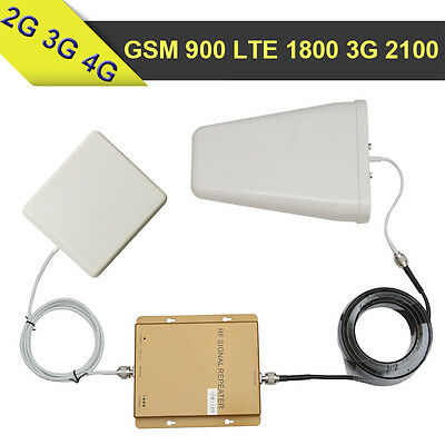 2G GSM 900 3G WCDMA 2100 4G LTE 1800 Tri Band Mobile Phone Signal Booster 65dB