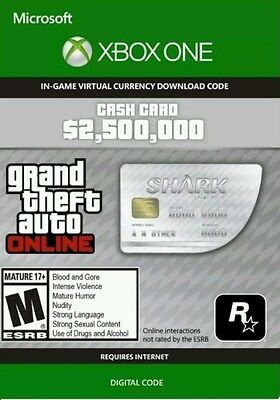 Xbox One Grand Theft Auto Online: Great White Shark Cash $2,500,000 GTA 5 V Code