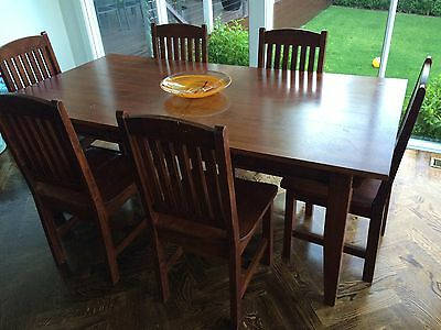 7 Piece Solid Wood Dining Table and Chairs