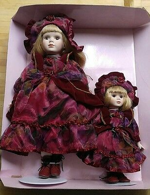 """Pair 16""""/10"""" Collectible Memories Porcelain doll handcrafted NIB from 2000"""