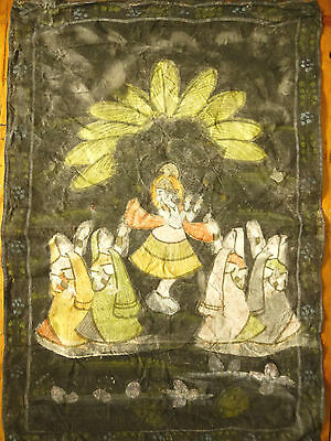 Vintage INDIAN PAINTING on Cotton