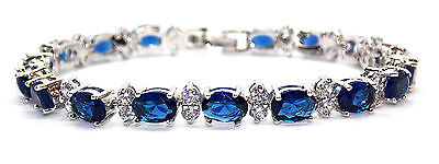 10kt White Gold Filled Blue Sapphire And Diamond 17.14ct Tennis Bracelet