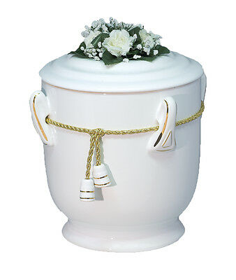 White Ceramic Cremation Ashes Urn / Casket for Adults (C-26Z-W)