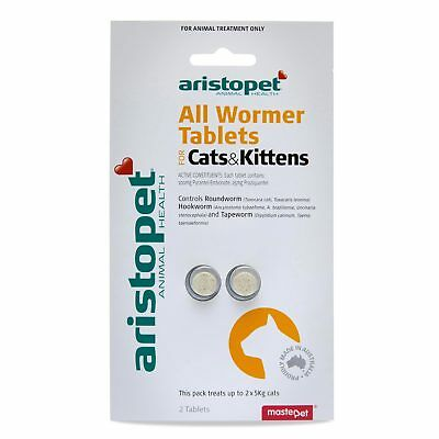 Aristopet All Wormer For Cat Kittens 2 Pack Tablets 5KG Tapeworm