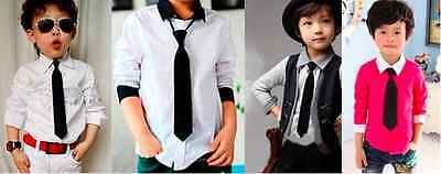 toddler Kids Baby School Boy Girl Wedding Necktie Neck Tie Elastic Solid Colour