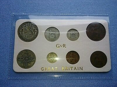 Vintage 1920,Coin Year Set In Display.(KGV,5 Coins Silver,97TH Birthday).����.