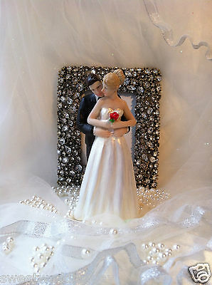 wedding topper for cake bride and groom personalised with red rose