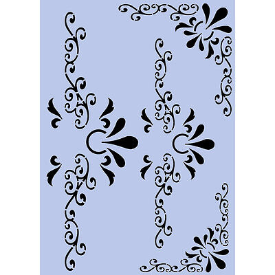Corners & Keyholes Stencil A4 Mylar Shabby Chic French Wall Furniture Fabric 097