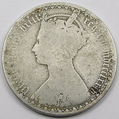 QUEEN VICTORIA SILVER GOTHIC FLORIN/ TWO SHILLINGS dated mdccclxxiv  - 1874