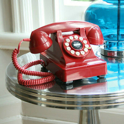 Retro 1930's Telephone Vintage Look Push Button Dial Style Red Corded Desk Phone