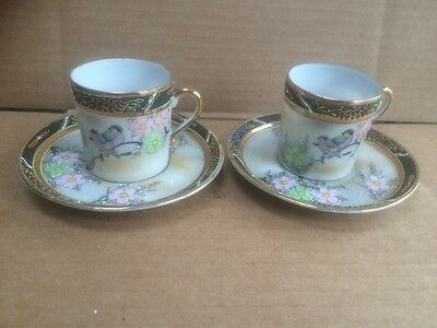 Pair Oriental Style Miniature Tea Cups & Saucers with Hand Painted Decoration